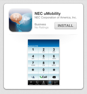 NEC SL1100 Phone System uMobility Mobile App